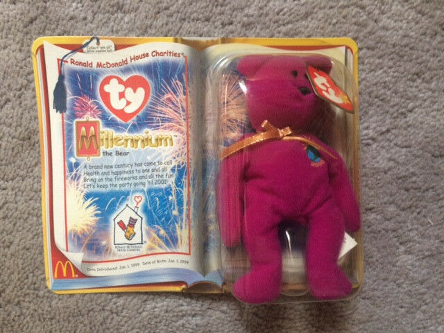 1999Ty Beanie Baby Millennium (Millenium) Bear VERY RARE -In Box- -New- -SEALED-