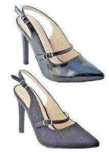 Ladies-Black-Patent-Faux-Suede-High-Stiletto-Heel-Slingback-Court-Shoes-Size-3-8