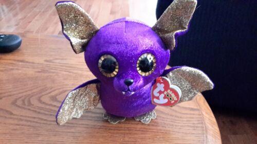 "TY Beanie Boos Halloween Count Brand New Bat 6/"" Small Plush Glitter Eye"