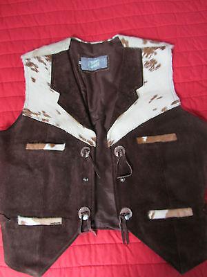 Accurato Rare Trovare Pony Vintage Gilet Pelle Paese Cowboy Costume Di Scena Vestito-