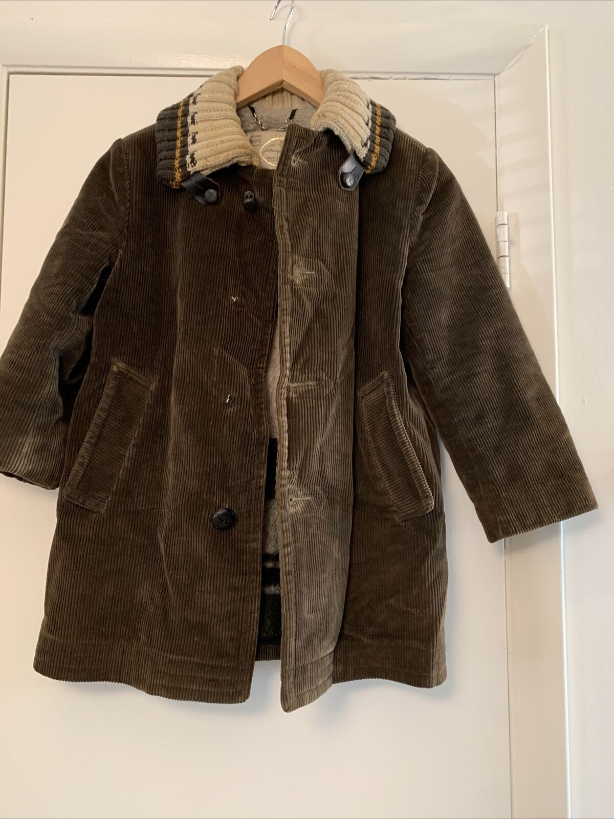 Vtg Sears Johnny Unitas Top pro Acrilan warm coat Made in USA courdroy brown