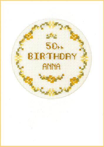 GOLDEN Compleanno Biglietto D/'auguri PUNTO CROCE-KIT COMPLETO SU 16 AIDA