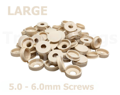 LARGE BEIGE HINGED SCREW COVER CAPS SUITABLE FOR 5.0 /& 6.0mm SCREWS
