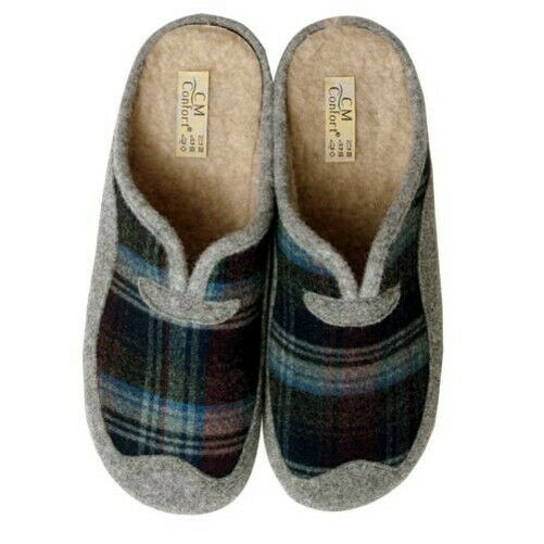 Calzamur Men's Slippers 678086007, Anthracite Grey, with Karo-Dessin