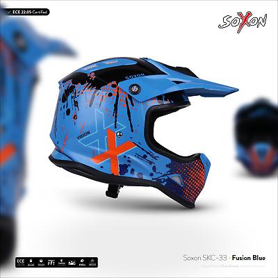 KIDS KINDER-CROSS-HELM OFFROAD MOTORRAD-HELM XXS–S SOXON SKC-33 FUSION-YELLOW