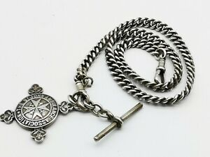 Antique-Sterling-Silver-Double-Albert-Watch-Chain-amp-Large-Fob-Medal-C-1919
