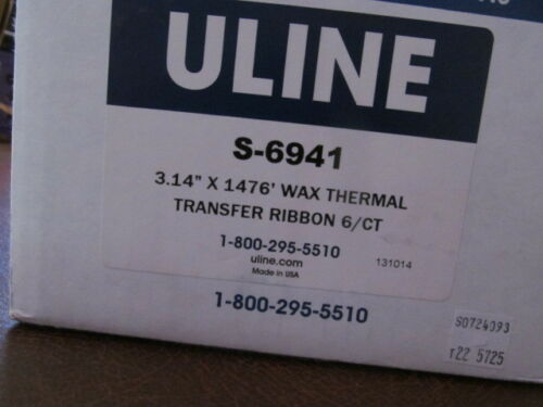 "Qty 6 ULINE S-6941 Wax Thermal Transfer Ribbons 3.14/"" x 1476/' for Zebra Printer"