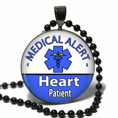 Medical Alert Heart Patient Necklace Glass Top Pendant /& Chain Handcrafted USA