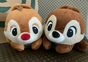 WALT-DISNEY-Official-CHIP-amp-DALE-Cute-Beanie-Plush-Doll-Set-of-2-Licensed-AUTH