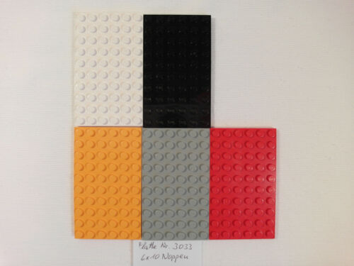 1 LEGO 3033 Platte 6x10 Noppen Schwarz Orange 5mm dick