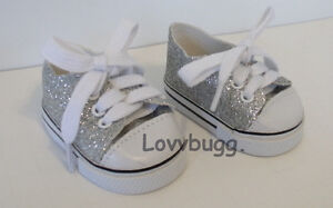 Lovvbugg-Silver-Glitter-Sparkly-Sneakers-for-American-Girl-18-034-Doll-Shoes-US-SLR