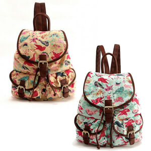 Pretty Swallow Birds Canvas Drawstring Pocket Backpack Rucksack School Bag
