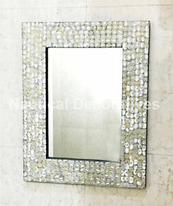 Details About Mother Of Pearl Inlay Frame Mirror Handmade Round Wall Home Decor