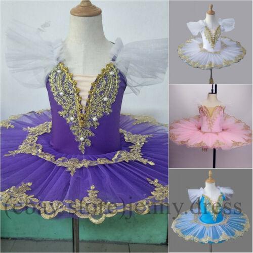 Kids Girls Ballet Pancake Platter Tutu Skirt Dance Dress Gold Lace Stage Costume