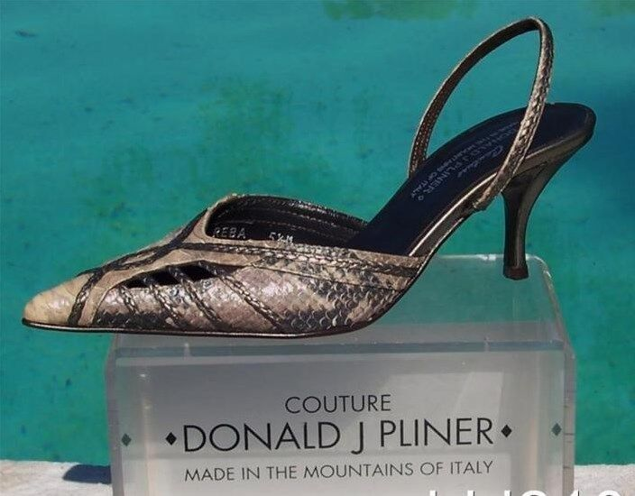 Donald Pliner Couture Cobra Leather schuhe New Sz 5 5.5 Pointy Toe Sling Back  265