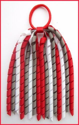 RED DARK GREY WHITE SCHOOL UNIFORM KORKER HAIR PONYTAIL BOBBLE CORKER STREAMER