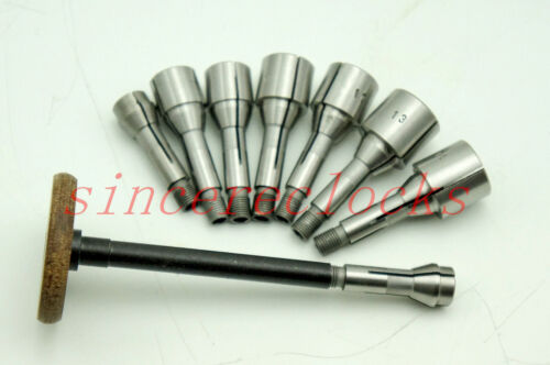8 Collets Matching A Draw Bar for Watchmakers Lathe