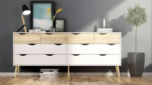 7545549ak New Tvilum Delta Collection 8 Drawer Dresser in White//Oak Finish