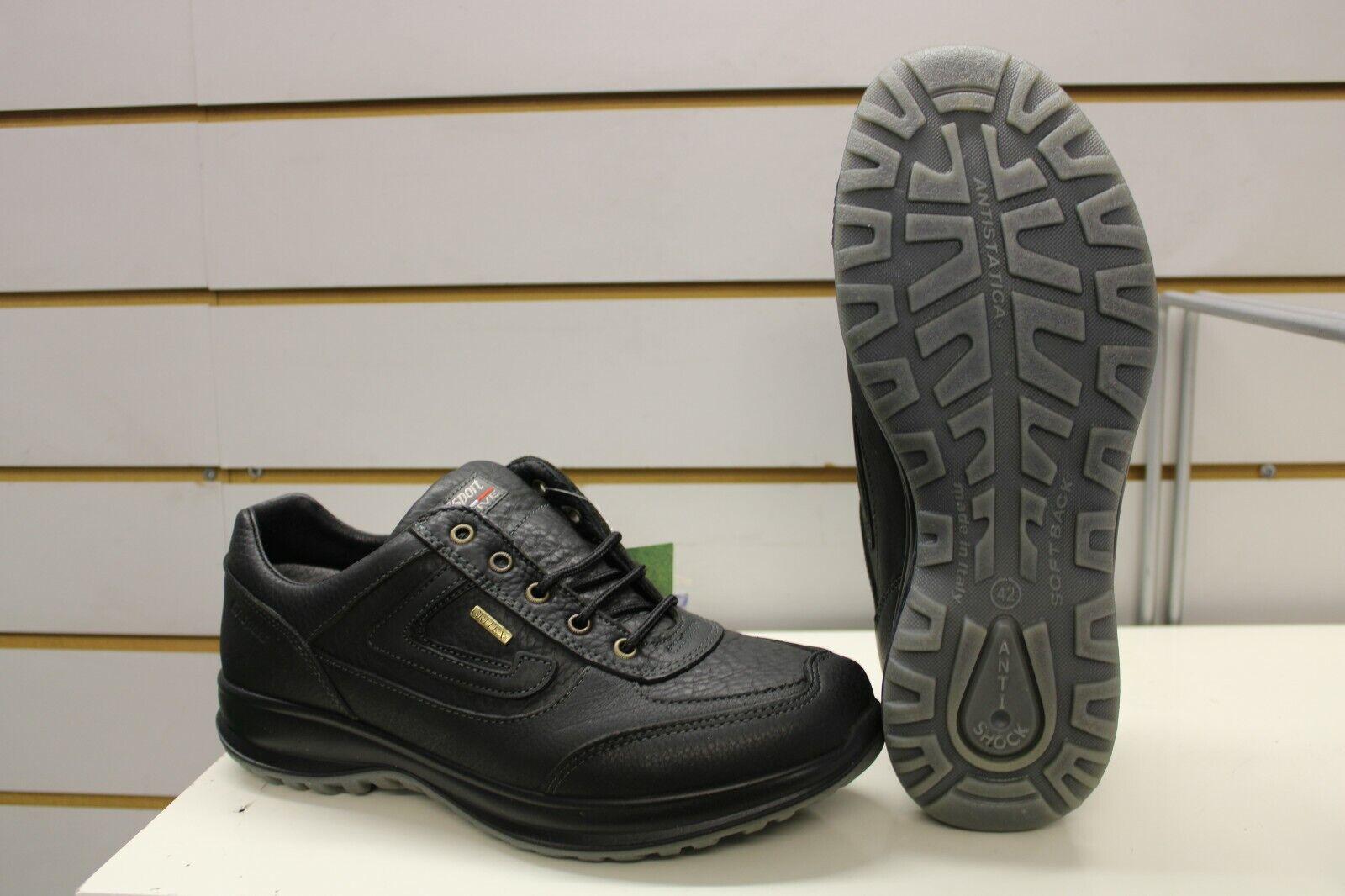 Grisport Airwalker Black Leather Active Leisure Walking Shoes UK 8 EU 42 Italy