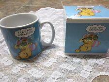 Garfield I Live For Weekends Coffee Mug, Original Box, Classic 80s Jim Davis Cat