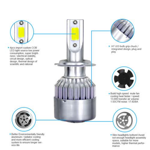 2PCS H7 300W 36000LM COB LED Headlight Bulbs High//Low Beam 6000K White Lamp IP68