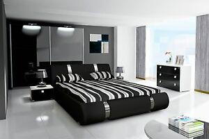 Details zu Komplett Schlafzimmer Set Hochglanz schwarz Kleiderschrank,  Bett, 2 x Nachttisch