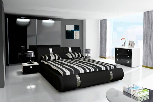 Komplett Schlafzimmer Set Hochglanz schwarz Kleiderschrank, Bett, 2 x  Nachttisch