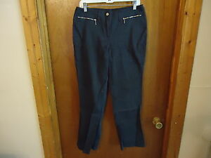 Womens-Fashion-Bug-Stretch-Size-12-Black-Dark-Gray-Dress-Casual-Pants-034-BEAU
