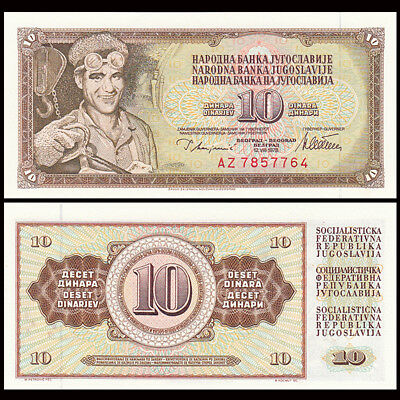 Yugoslavia Banknote 10 Dinara 1978 UNC P 87 w// UN FDI FLAG STAMP Prefix BH