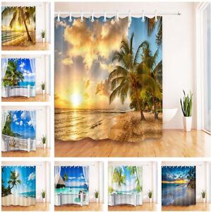 Image Is Loading Sunset Seaside Sunny Beach Palm Tree Shower Curtain