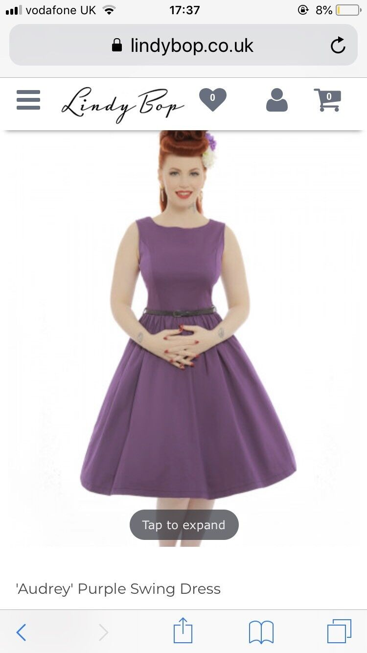 30add4ea581 Lindy Bop Purple Audrey Dress Size 12 BNWT 50s Swing nyveoz4727-Dresses