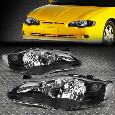 Pair Black Housing factory Style Headlights for 2000-2005 Chevrolet Monte Carlo