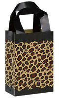 Count Of 100 Frosted Plastic Leopard Print Shopping Bags - Small 5 X3 X 7