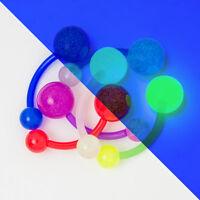 Glow Belly Button Barbell 6 Pack - 14ga Bio-Flex Barbell UV Glow in the Dark