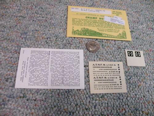 Champ decals HO HN-151 ATSF Santa Fe black letters road names    L148