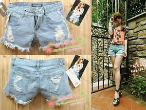 Women-Retro-Girls-High-Waist-Ripped-Flange-Hole-Wash-White-Jean-Denim-Shorts