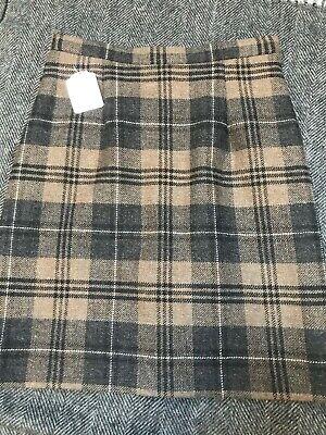 Das Beste Ladies Brown And Charcoal Tweed Pencil Skirt Above Knee Size 14 Pure New Wool