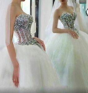 Luxury-Crystal-Bling-Strapless-White-ivory-Wedding-dress-Bridal-Gown-custom-size