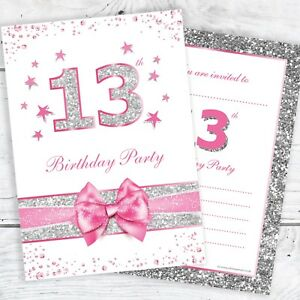 13th-Birthday-Invites-Pink-with-photo-effect-glitter-A6-Size-Pack-10