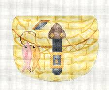 NEW Silver Needle Fishing Creel Basket handpainted Needlepoint Canvas Ornament