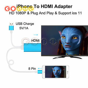 8 Pin Lightning Cable to HDMI TV AV Adapter for iPad iPhone6 6S 7 7 Plus 8 X