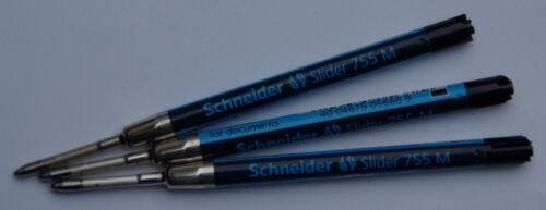 e.w 3 Stück Schneider Kugelschreiber Großraum Minen Slider 755 M schwarz Viscogl