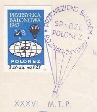 POLAND 1967.VI.24 Ballon POLONEZ, Mail Cat.42d Start POZNAN - POZNAN landing