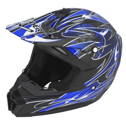 Adult Raider Wildfire Helmet MX // ATV Red Blue or Silver Matte Black DOT