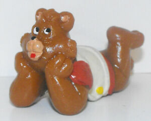 Teddy-Ruxpin-Laying-Down-Vintage-Figurine-2-1-2-inch-Plastic-Figure-1985