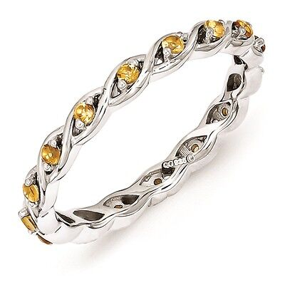 Sterling Silver Stackable Ring Citrine November Birthstone Jewelry QSK1480