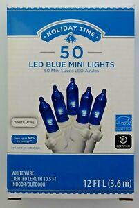 50-blue-color-LED-mini-Christmas-lights-white-string-indoor-outdoor-NEW