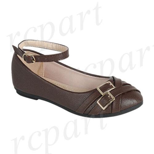 New girl/'s kids formal dress wedding shoes Brown buckle closure wedding