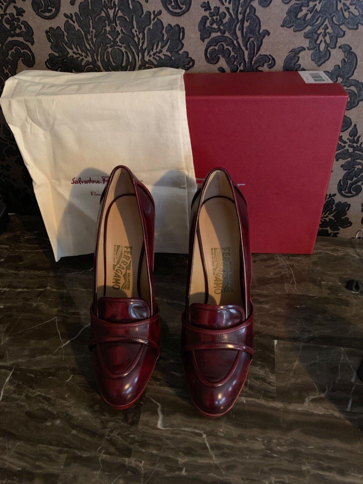 NEW FERRAGAMO REINA red red burgundy merlot loafer heels pumps shoes 7 37 Hot