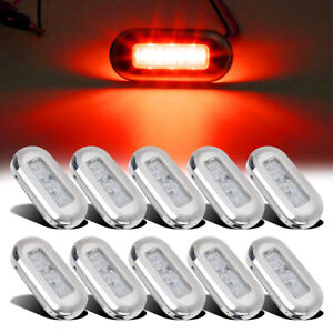 10pcs-Marine-Boat-Red-LED-Oblong-Courtesy-Light-Stair-Yacht-Deck-Clear-Stainless